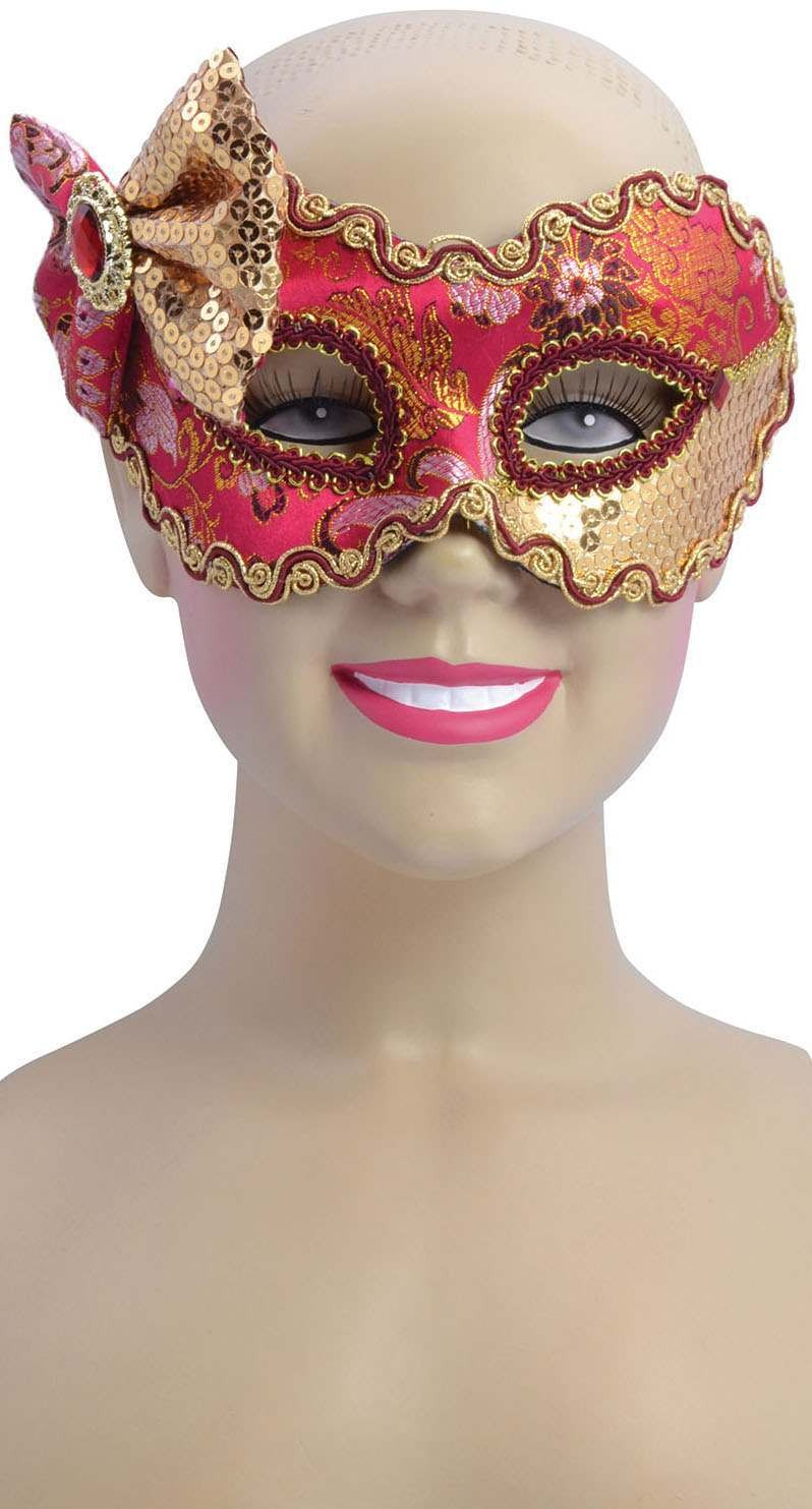 Ladies Red/Gold With Sequined Bow(Glasses Style)Eyemask