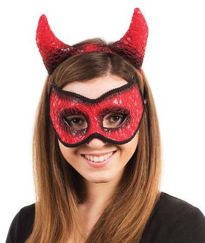 Ladies Devil Mask With Horns On Headband Halloween Accessory