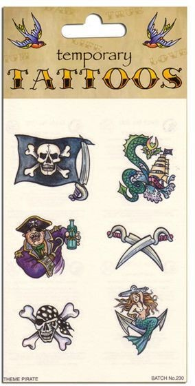 Tattoos Theme Pirate (6/Card) (Pirates Fancy Dress)