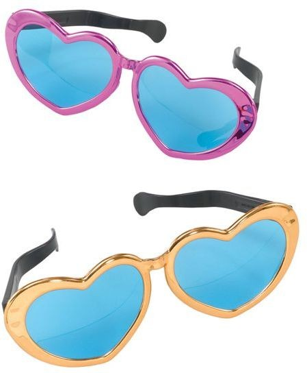 Jumbo Metallic Heart Sunglasses (1970S Fancy Dress Glasses)
