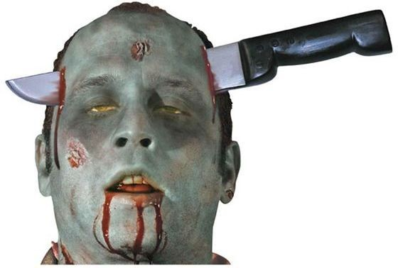 Zombie Knife Thro Head (Halloween Fancy Dress)