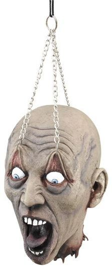 Hanging Dead Head With Chain Prop (Halloween Decorations)