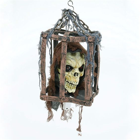 Skull Head In Cage (Halloween Decorations)