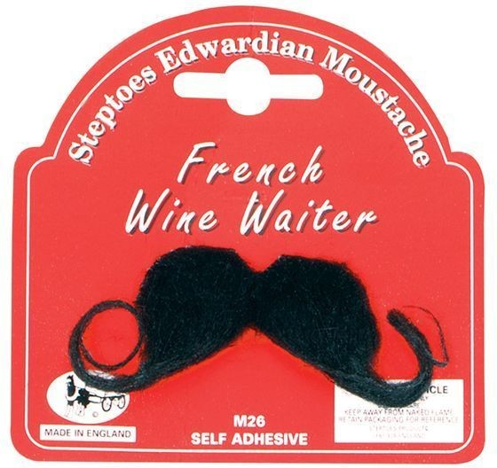 Mens Self Adhesive Black French Wine Waiter French Chef Moustache Accessory
