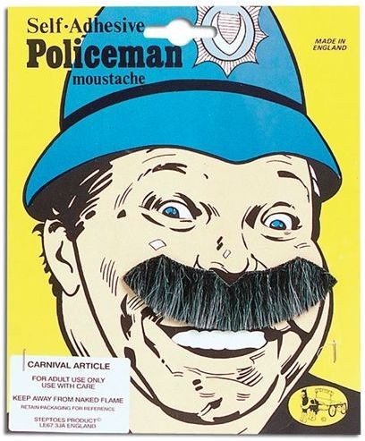 Policeman Tash (Cops/Robbers Fancy Dress Facial Hair)