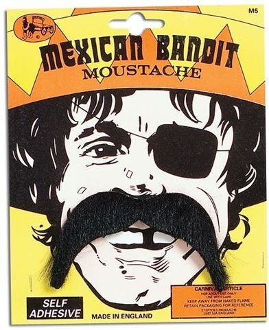 Mexican Bandit Tash (Cultures , Cowboys/Indians Fancy Dress Facial Hair)
