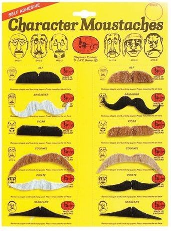 Moustaches. 5 Colours. 12 Assorted (Fancy Dress Facial Hair)