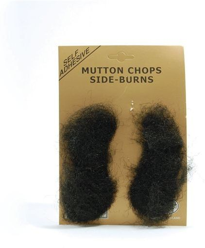 Mutton Chops. Black (Fancy Dress Facial Hair)