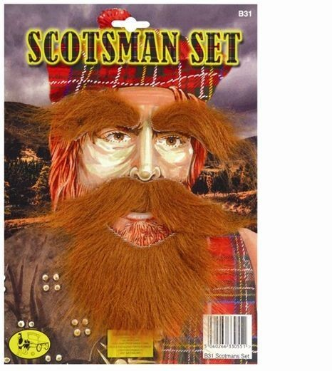 Scotsman Set (Beard, Tash, Eyebrows) (Cultures Fancy Dress Facial Hair)