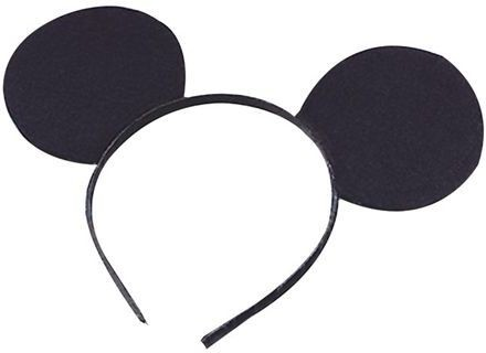 Ears Mouse Black Felt On H'Band (Animals Fancy Dress)