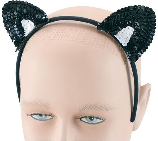 Cat Ears. Black Sequin (Animals Fancy Dress)