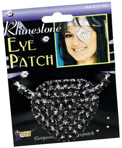 Eyepatch. Black Rhinestone (Pirates Fancy Dress)