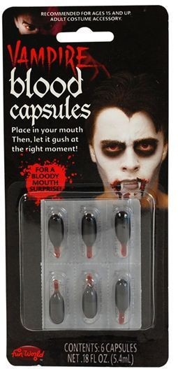 Blood Capsules, Liquid. 6/Card (Halloween , Fancy Dress)