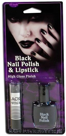 Black Nail Polish & Lipstick (Halloween Make Up)