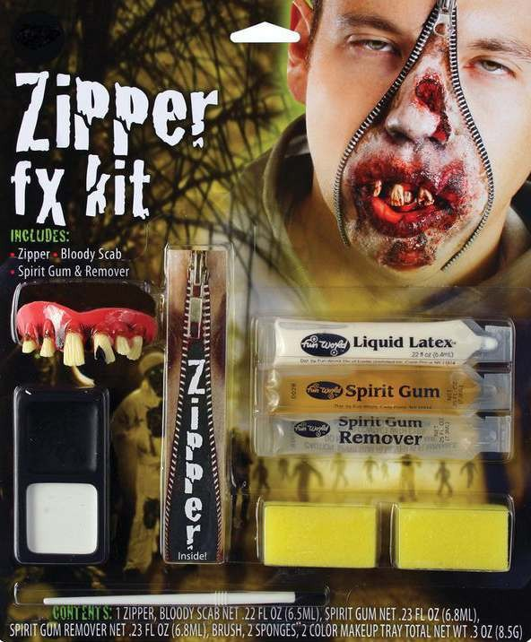 Zombie Zipper Special Fx Kit Halloween Accessory
