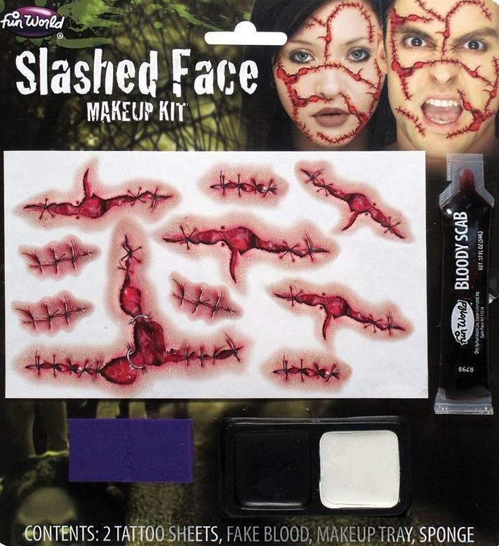 Slashed Face Make Up Kit Halloween Accessory