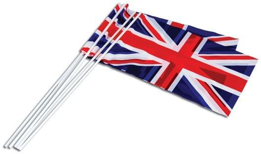 "Bundle of 50 Union Jack Flags. 6"" X 10"" (Fancy Dress)"