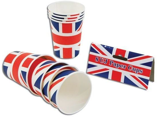 Union Jack Paper Cups (8 In Packet) (Fancy Dress)