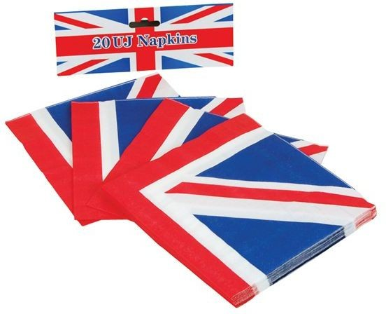 Union Jack Paper Napkins (20 In Pack) (Fancy Dress)