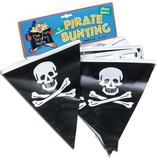 Pirate Bunting. 7M/25 Flags (Pirates Fancy Dress Decorations)