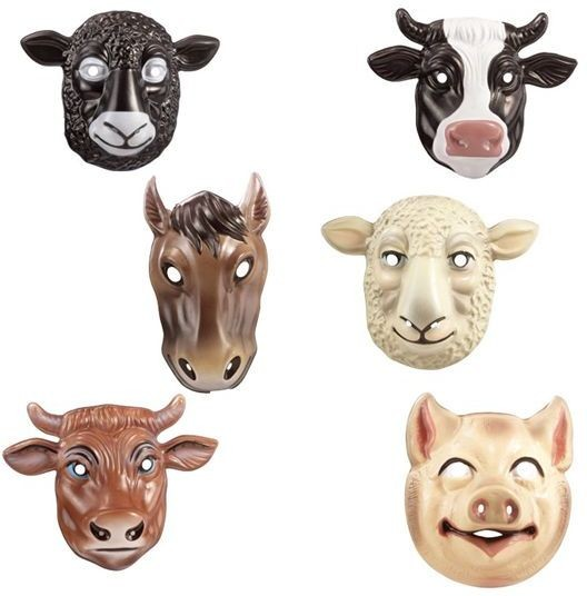 Animal Masks. Farmyard 6 Styles (Army Fancy Dress Masks)