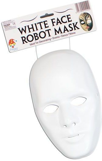 Deluxe Male Face Mask. White (Halloween Masks)