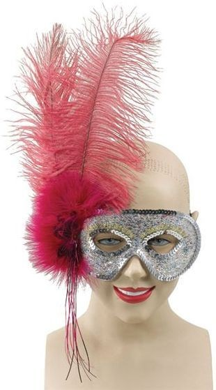 Ostrich Feather Fuschia Mask (Fancy Dress Eyemasks)