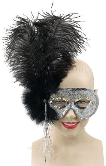 Ostrich Feather Black Mask (Fancy Dress Eyemasks)