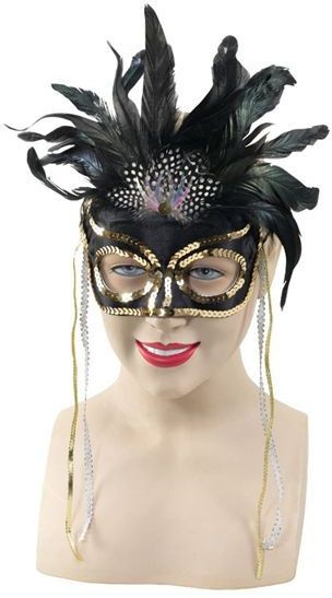 Black Feather/Gold Sequin Eyes (Fancy Dress Eyemasks)