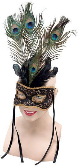 Venetian Black Mask & Feathers (Fancy Dress Eyemasks)