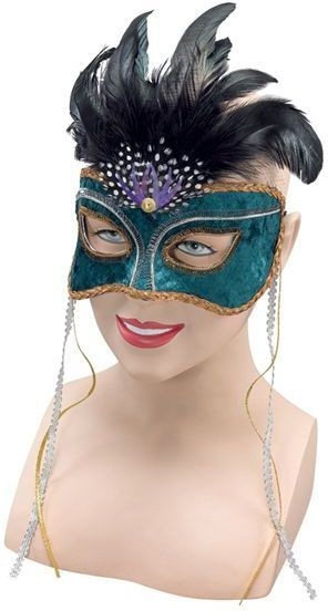 Green Face Venetian & Feathers (Fancy Dress Eyemasks)
