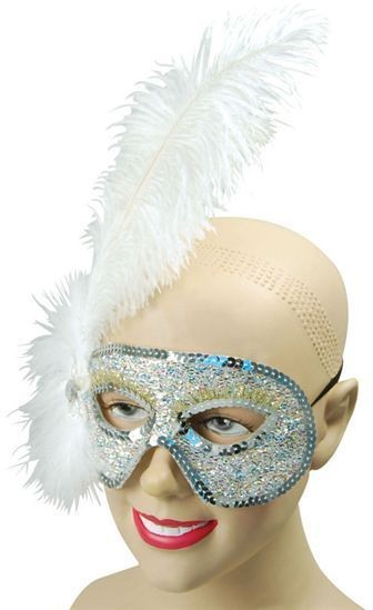 Ostrich Feather White Mask (Fancy Dress Eyemasks)