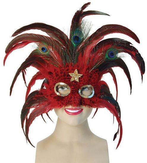 Red Peacock / Gold Star (Fancy Dress Eyemasks)