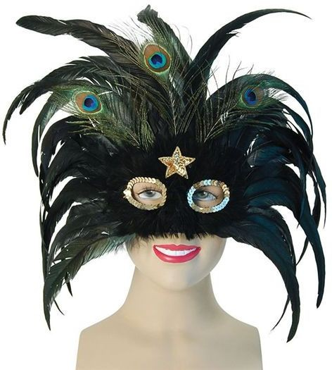 Black Peacock / Gold Star (Fancy Dress Eyemasks)