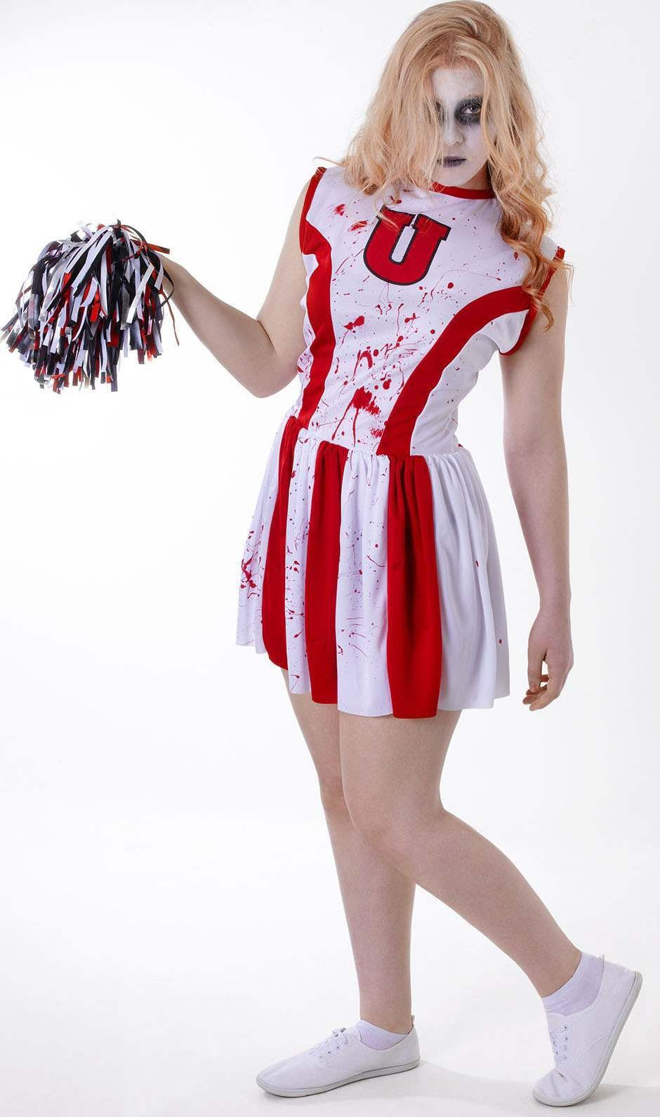 Girls Red And White (Teen Cheerleader Bloody) Fancy Dress Costume