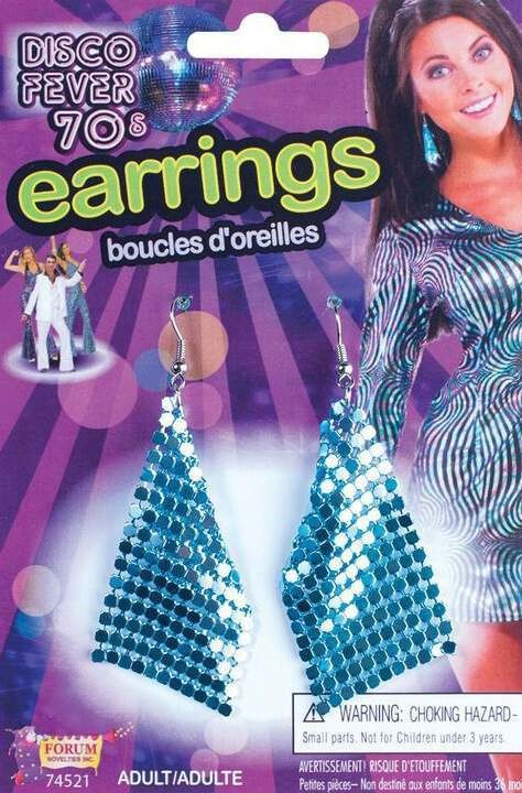 Ladies Diamond Shaped 70'S Style Blue Earrings Fancy Dress Accessory
