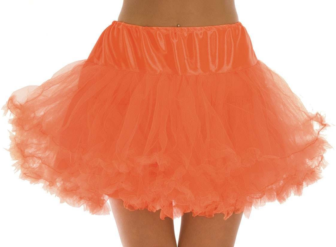 Neon Orange Multi Layer  Tutu Skirt One Size Fits Most (1980S)