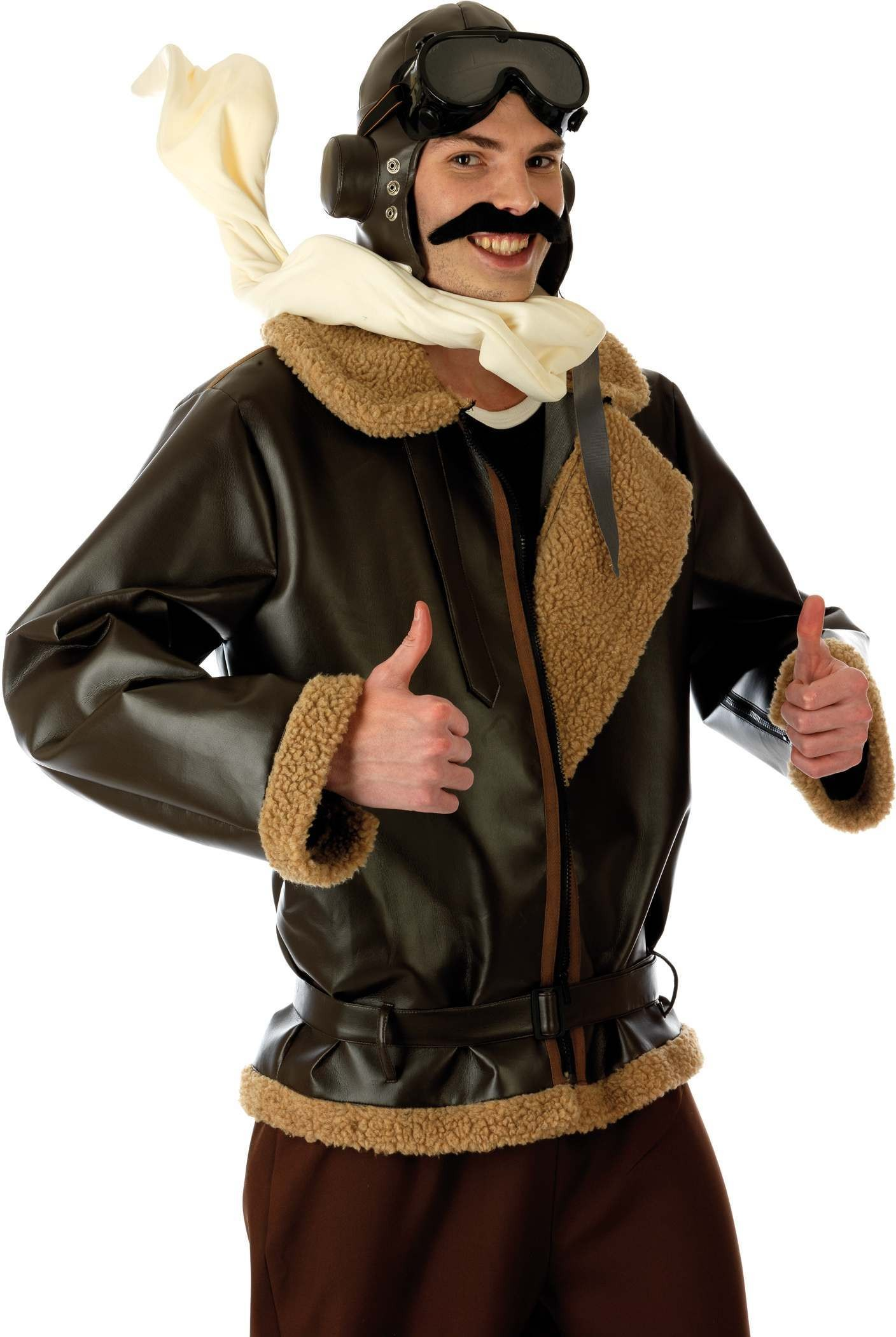War Time Fighter Pilot Fancy Dress Costume Mens (Pilot/Air)