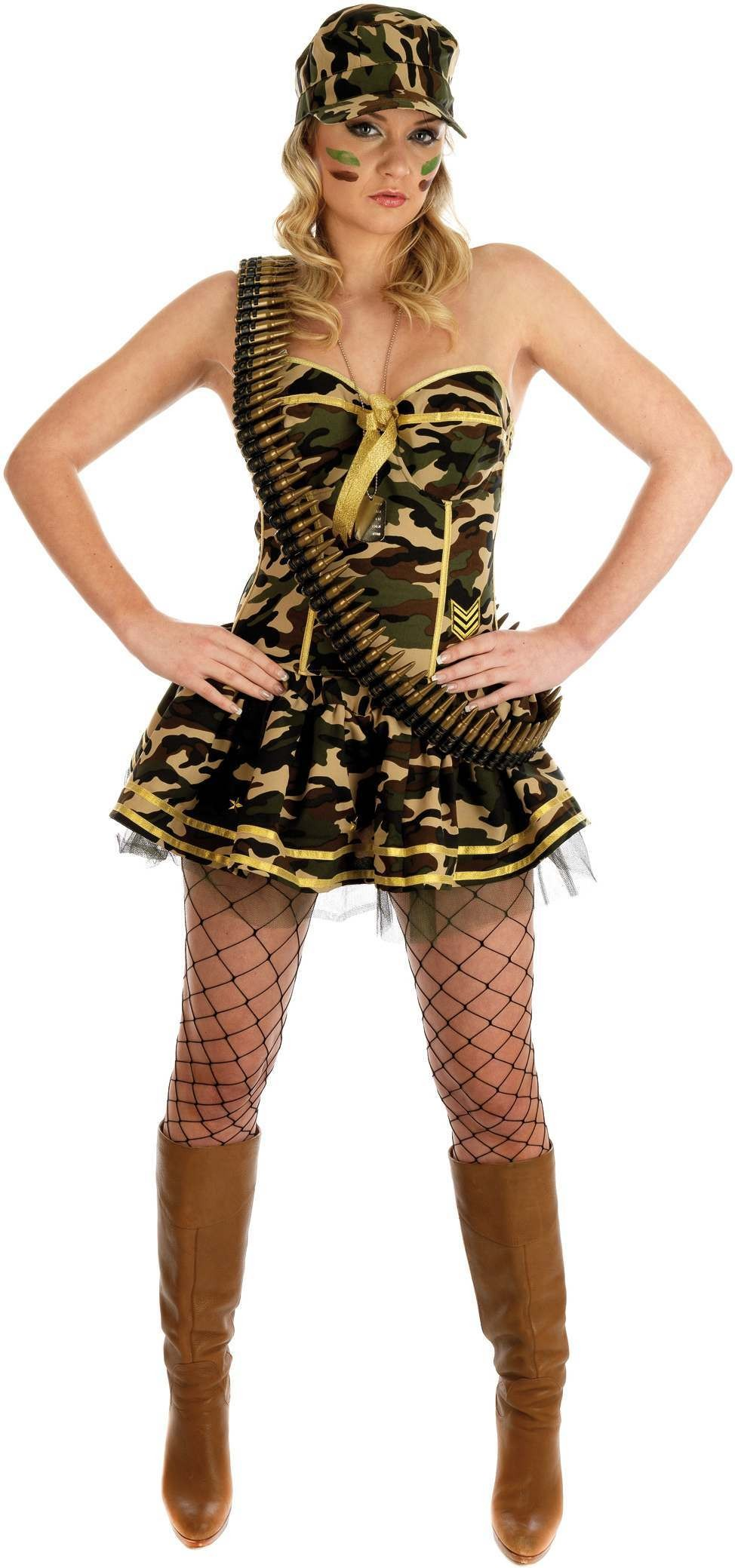 Commando Girl Fancy Dress Costume Ladies (Army)