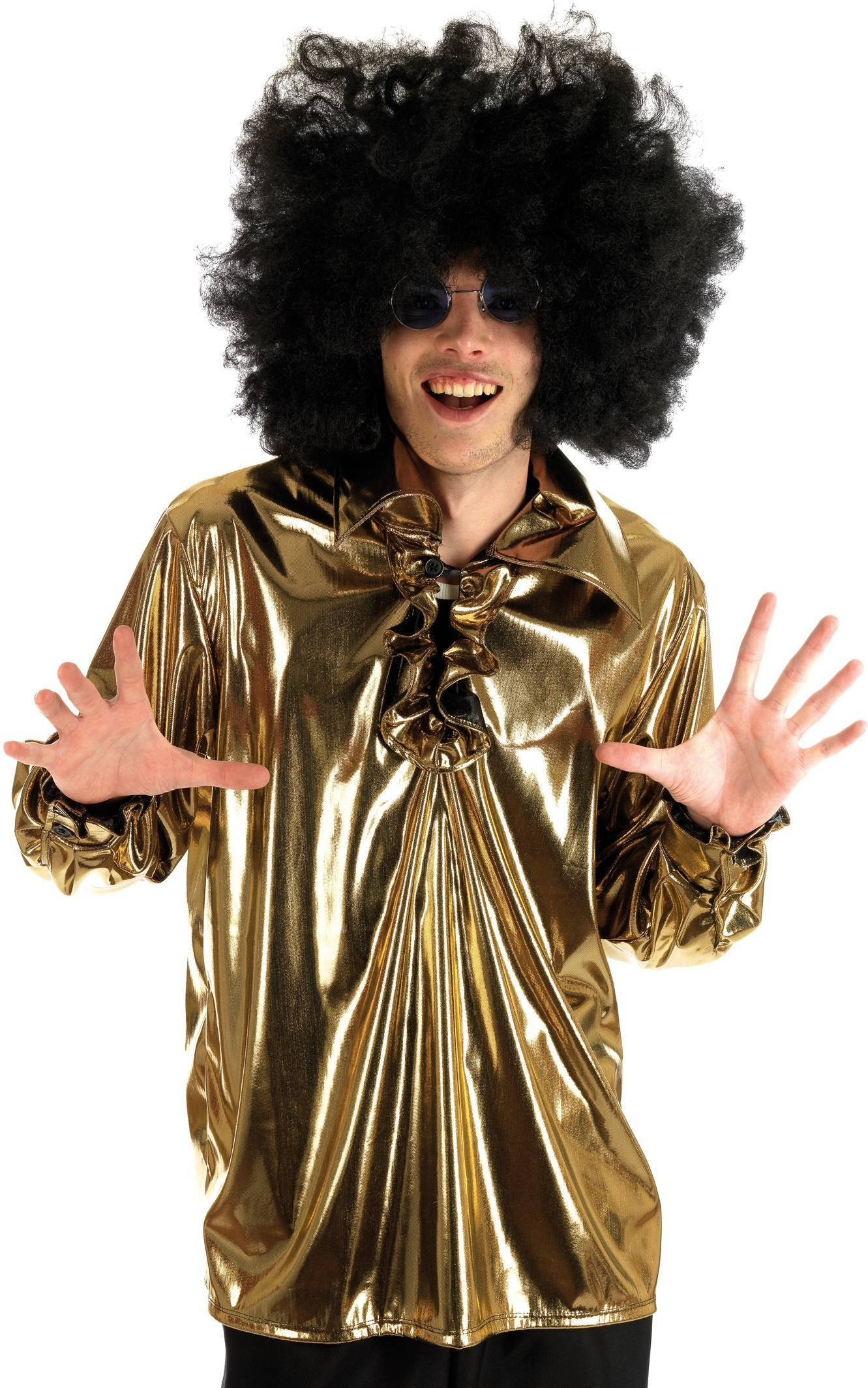 Gold Disco Shirt Fancy Dress Costume Mens (1970S)