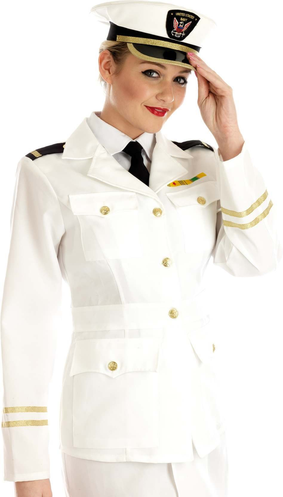 1940S Lady Naval Officer Fancy Dress Costume Ladies (Army)