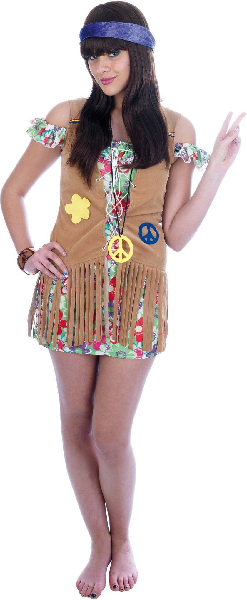 Hippie Flower Child Fancy Dress Costume Ladies (1960S)