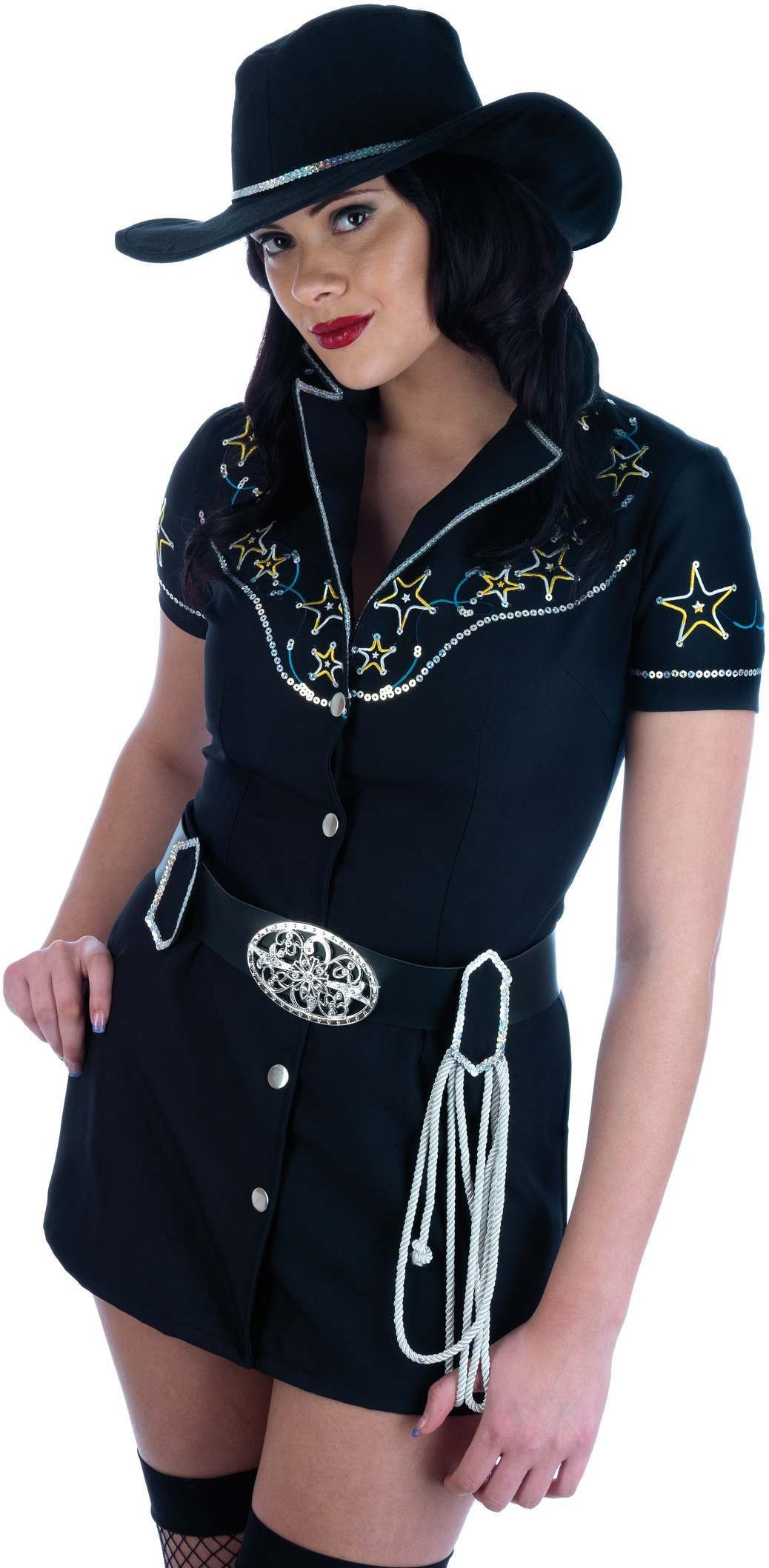 Rhinestone Cow Girl Costume Fancy Dress Costume Ladies (Cowboys/Indians)