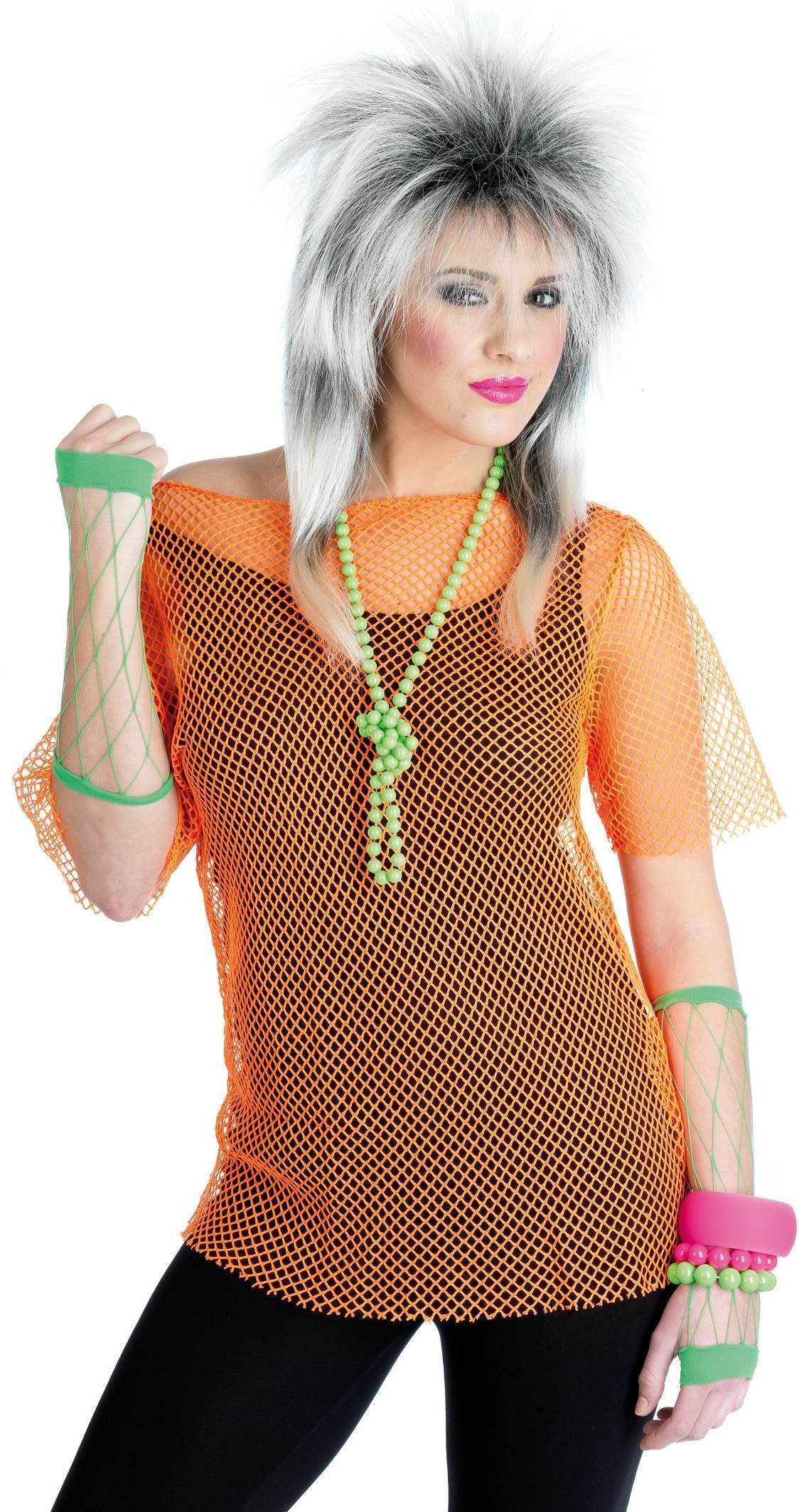 80 S Mesh Top Neon Orange One Size Ladies (1980S)