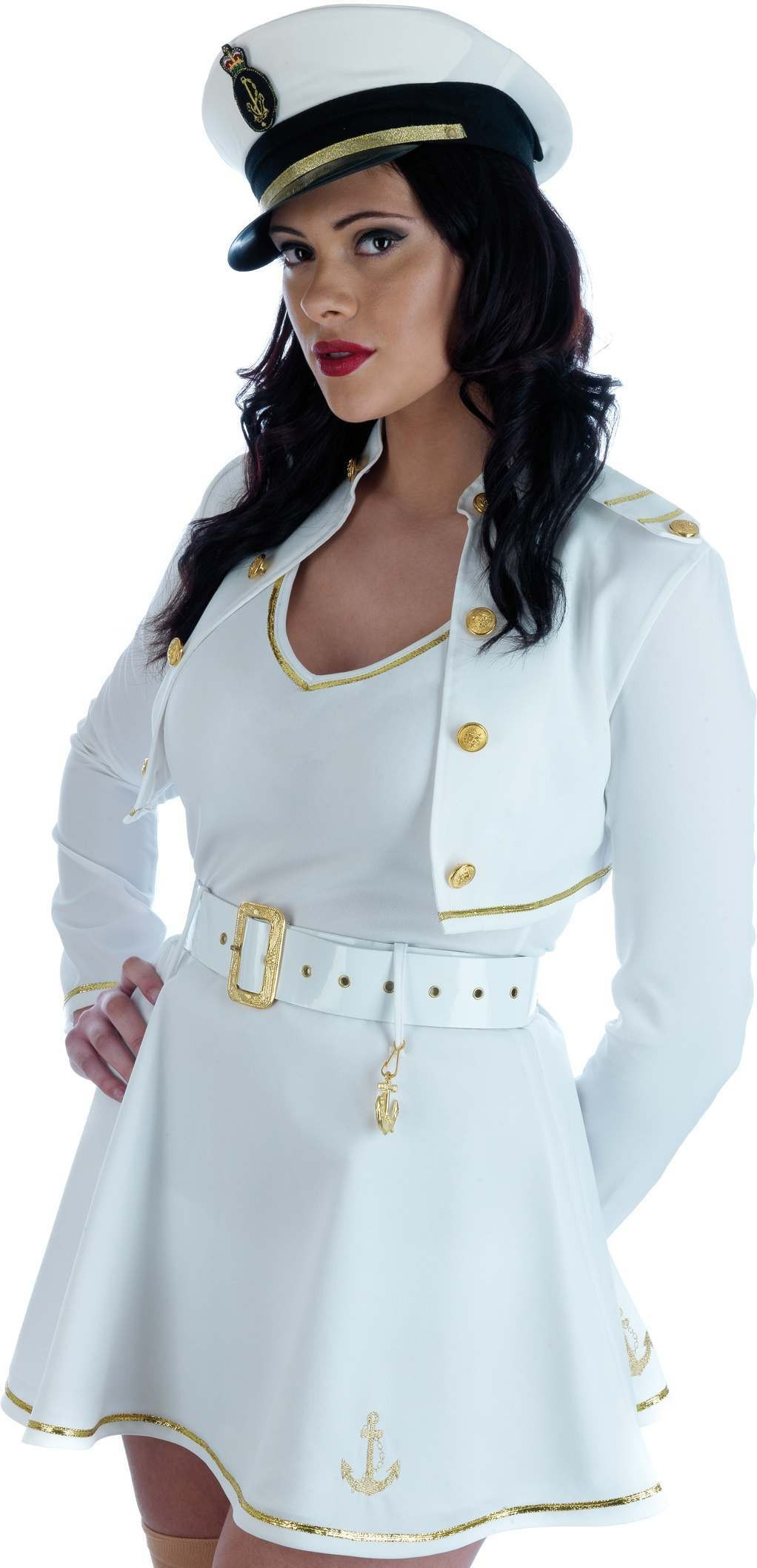 Sexy Dress Sea Captain Fancy Dress Costume Ladies (Army)