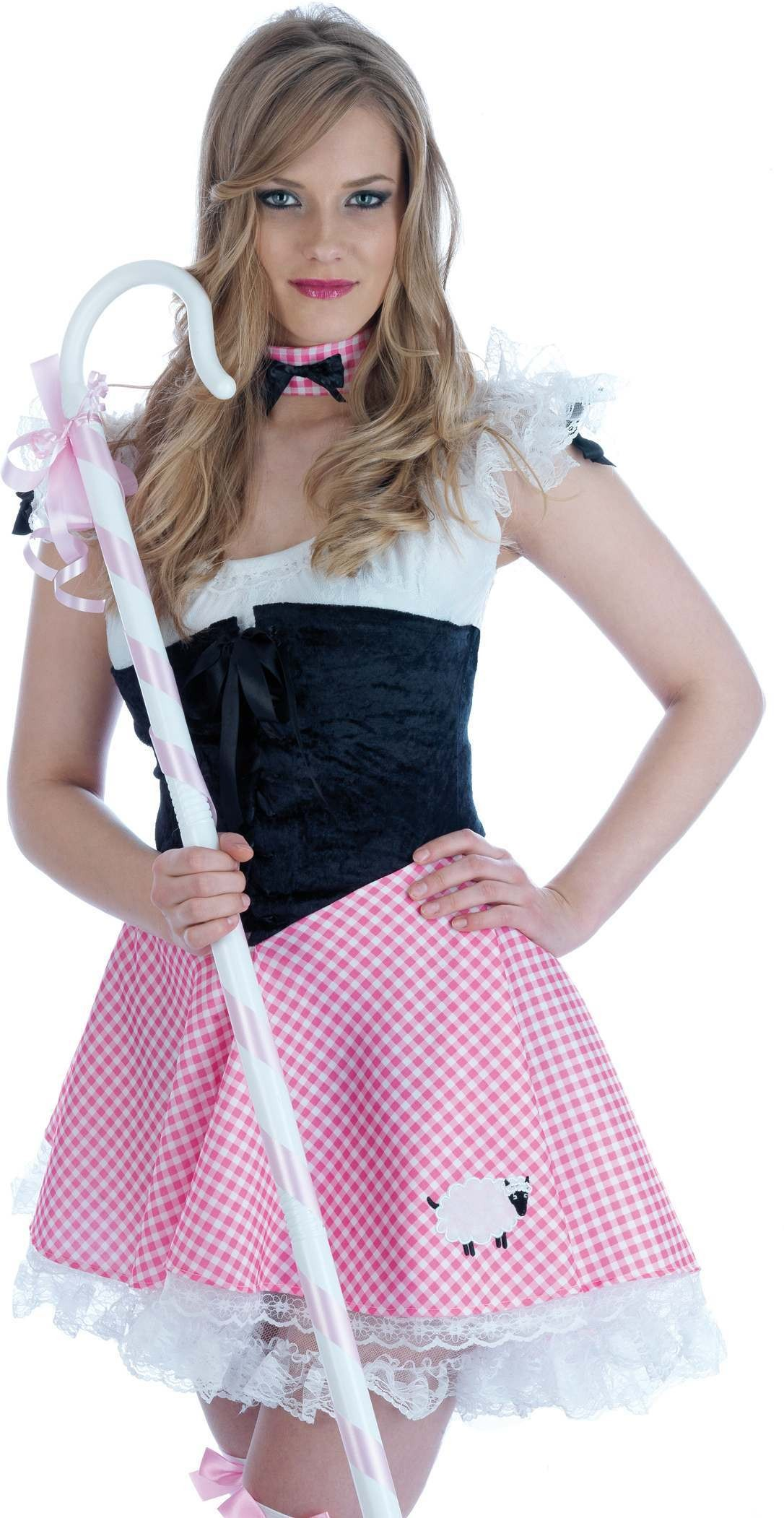 Miss Bo Peep Petticoat Dress Choker Fancy Dress Costume (Fairy Tales)