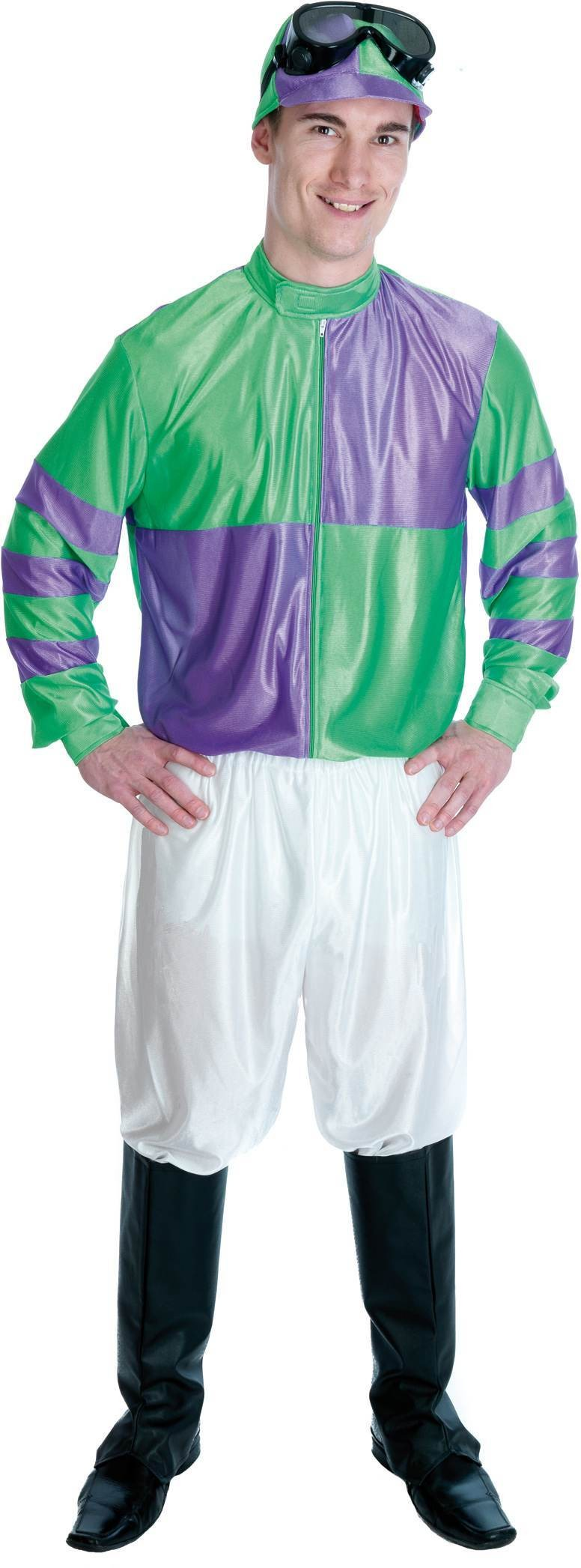Jockey Costume (Green And Purple) Fancy Dress Costume (Hen & Stag)