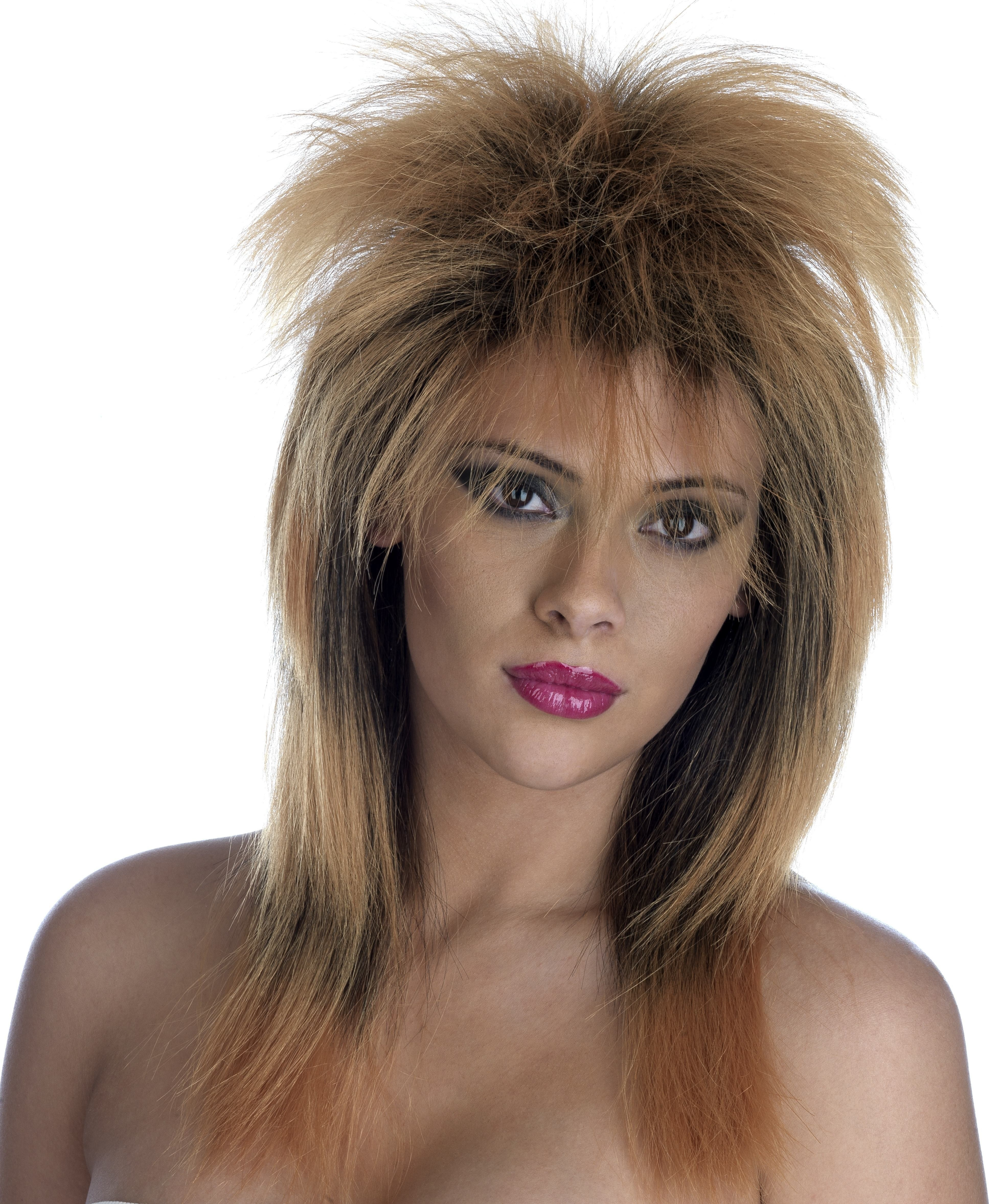 Tina Turner Ginger/Black  Spiky Wig (170G) One Size (Music)