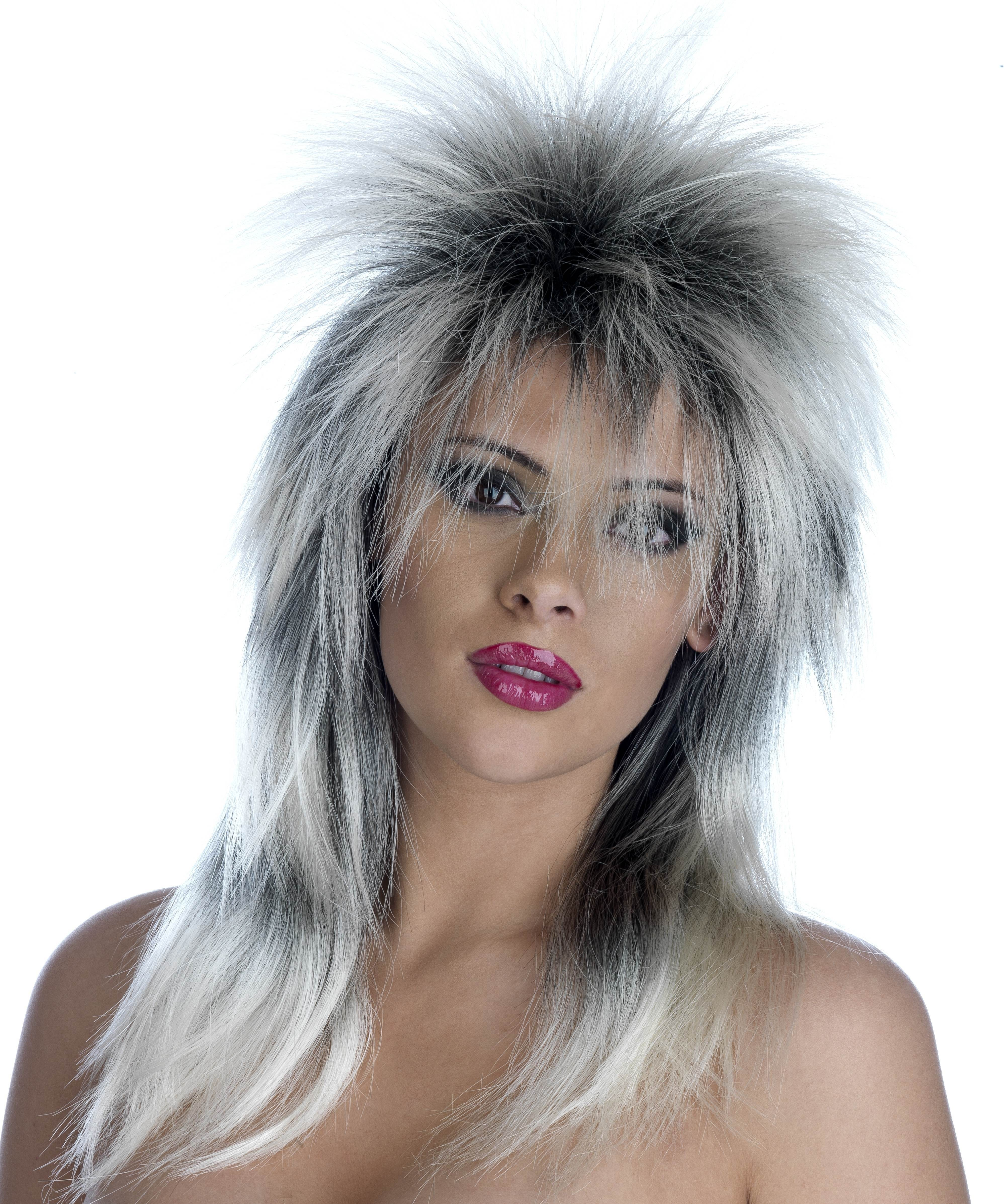 Tina Turner Blonde / Black Spiky Wig (170G) One Size (Music)