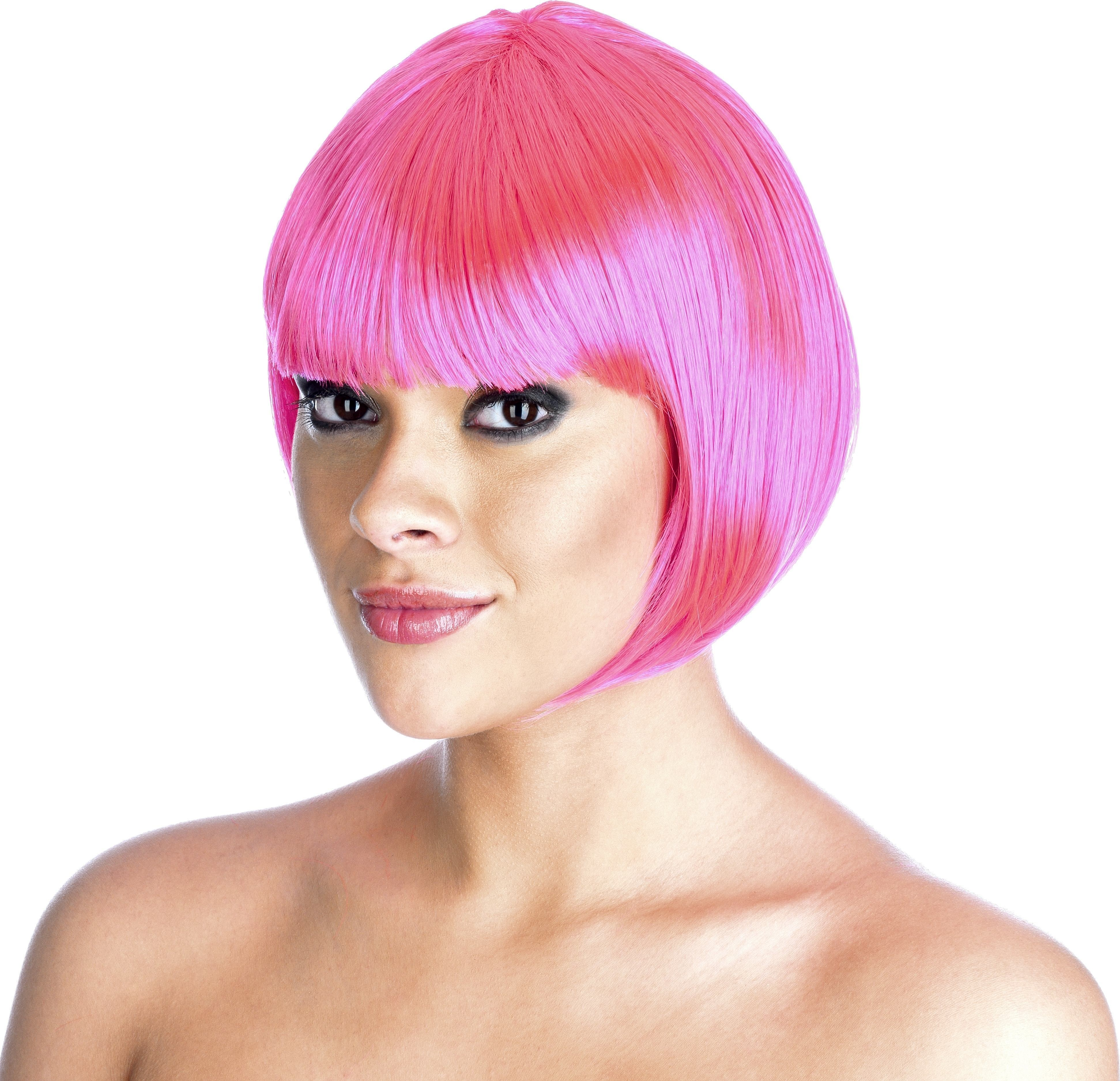 Neon Pink Bob Wig (Pet) (95G) One Size Ladies (1980S)